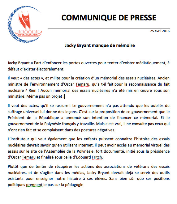 Communiqué du Tapura Huiraatira suite à l'intervention télévisée de monsieur Jacky Bryant