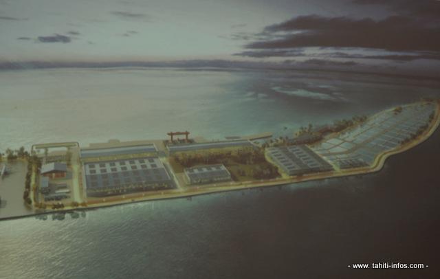 Une vue de ce que sera le complexe aquacole de Hao.