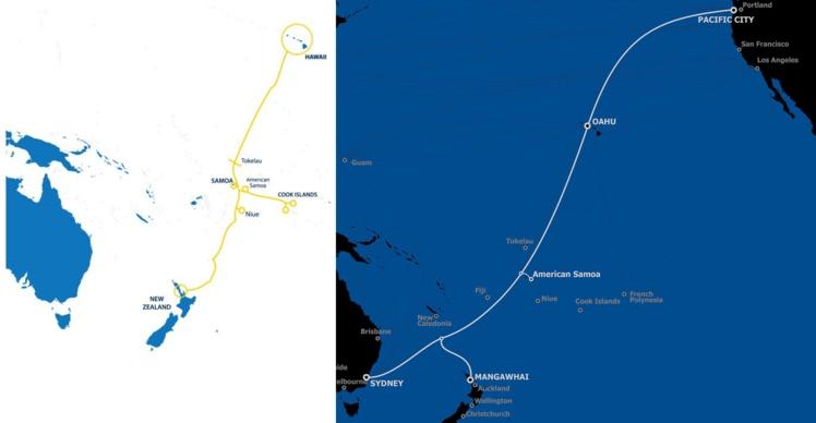 Les deux projets de câble sous-marin passent de chaque côté de la faille des Tonga. Moana à gauche, Hawaiki à droite.