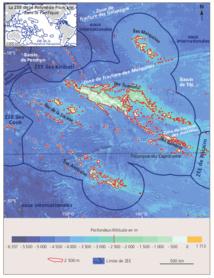 """""""Les zones les plus prometteuses sont localisées dans les parties nord-est et sud-ouest du plateau des Tuamotu, et secondairement vers la chaîne des monts sous-marins Tarava (au sud des îles de La Société)"""", décrit l'étude."""