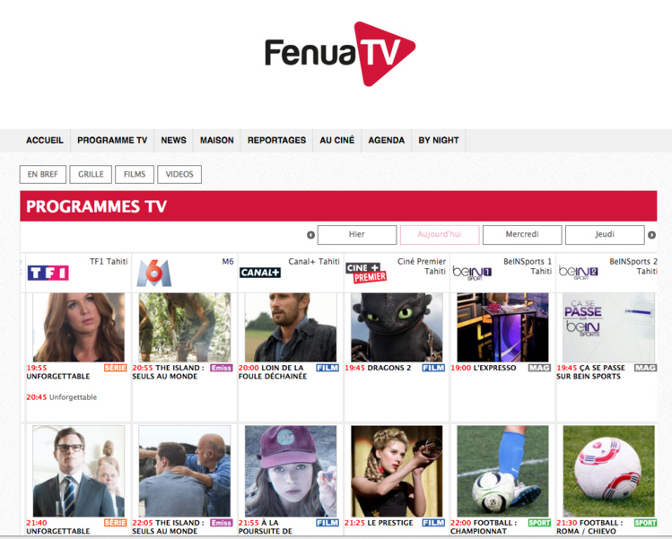 Le programme de 27 chaînes disponibles au fenua