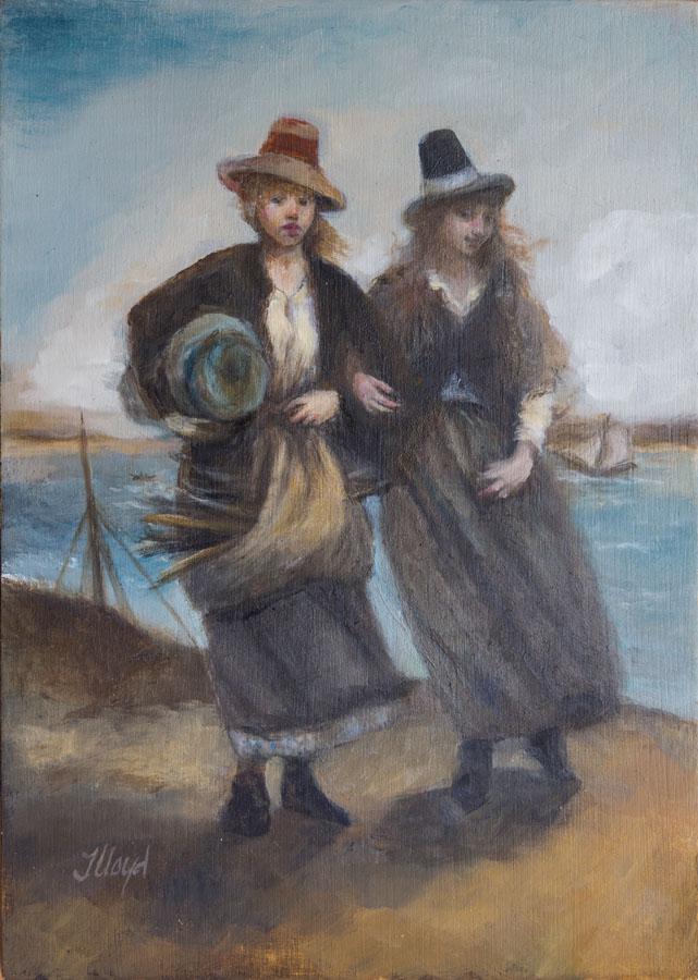 Deux femmes du bagne, telles que vues par un peintre, à l'époque où l'Australie était surtout peuplée de prisonniers exilés.