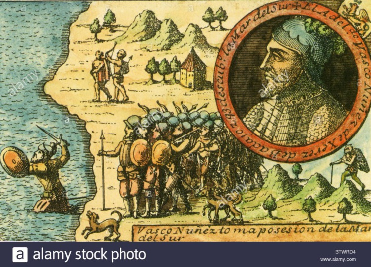 """Gravure ancienne montrant Vasco Nuñez de Balboa pénétrant dans les eaux de la """"Mare austral"""" pour en prendre possession au nom de la couronne d'Espagne."""