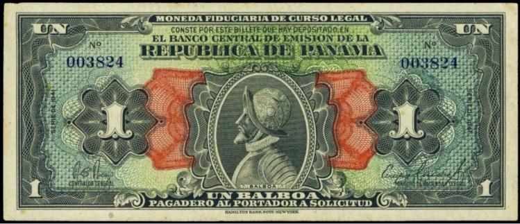 Un billet de banque de 1 balboa, émis par la République du Panama. Le balboa vaut aujourd'hui 105 Fcfp.