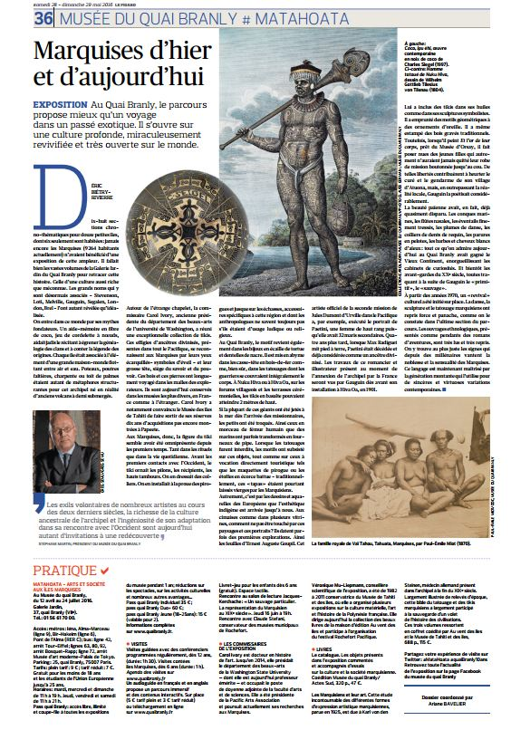 Les Marquises à l'honneur dans le Figaro ce week-end