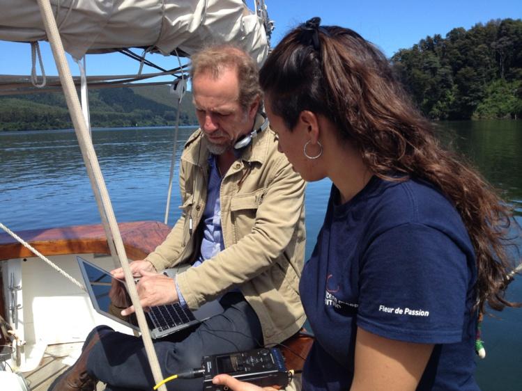 Michel André à bord de Fleur de passion. Ici à Valdiva (Chili) en février 2016. Crédit : The Ocean Mapping Expedition.