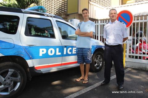 Marc Pidou et le commandant de police Loïc Hanuse.