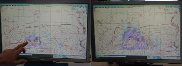 Sur ces deux photos, on peut apercevoir l'évolution de la houle qui arrivera par le sud-ouest, dès dimanche soir aux Australes. Elle se déplacera vers l'archipel de la Société, les Gambiers et le sud des Tuamotu.