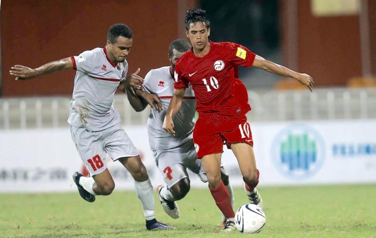 Teaonui Tehau, meilleur buteur de la sélection lors de nette Nation's Cup