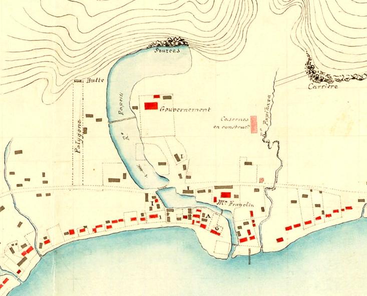 Dessin de la rivière Vai'ete, nommée rivière Papeiti sur ce plan de 1844.