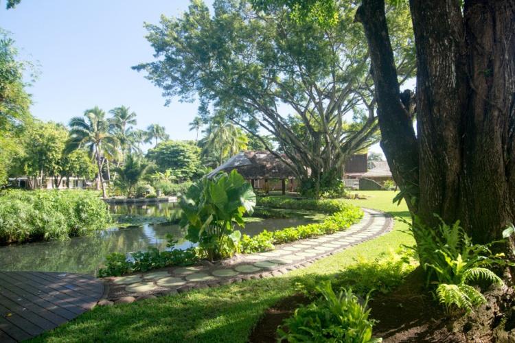 Le jardin vu depuis le bassin de la reine