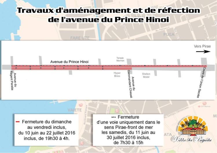 Travaux à l'avenue du Prince Hinoi : fermeture temporaire de voies de nuit et le samedi à partir du 10 juin 2016