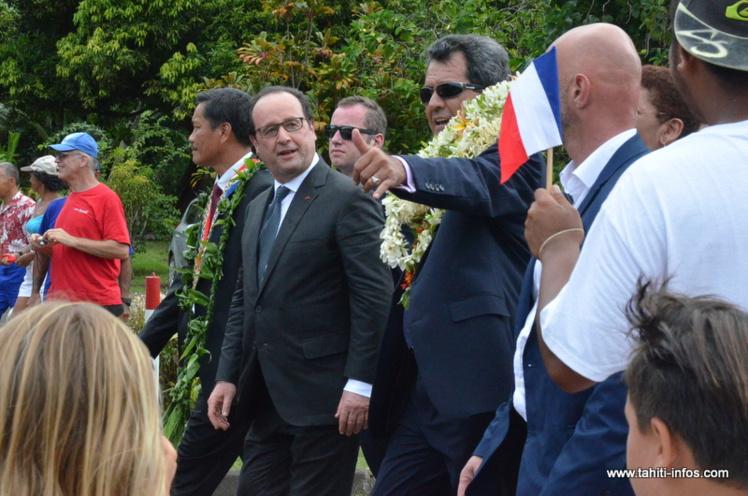 Edouard Fritch et François Hollande à Raiatea le 22 février dernier lors de la visite officielle du président de la République.