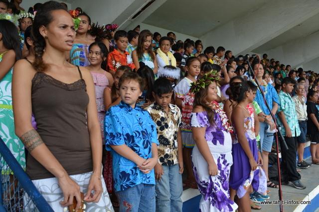 700 enfants en cycle 3 de Mahina et Hitiaa o te ra ont participé à la rencontre chorale ce jeudi matin à Mahina