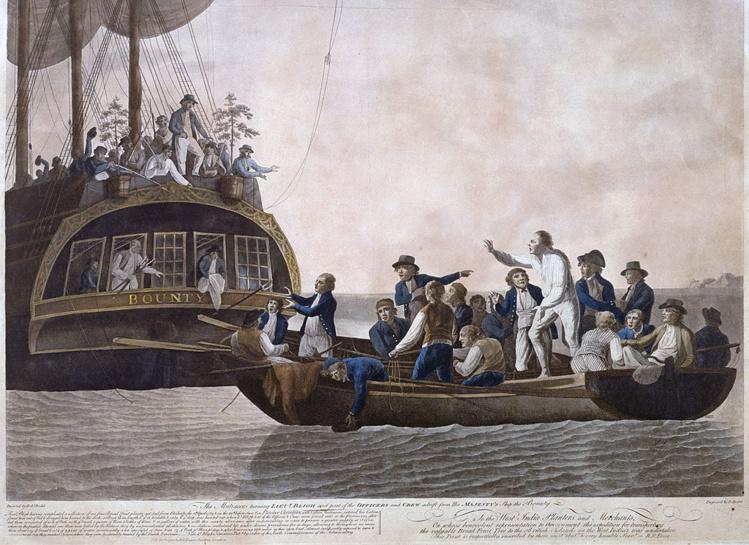 7 La plus célèbre gravure de la mutinerie de la HMS Bounty, lorsque Bligh et ses fidèles sont abandonnés en pleine mer, au large des Tonga.
