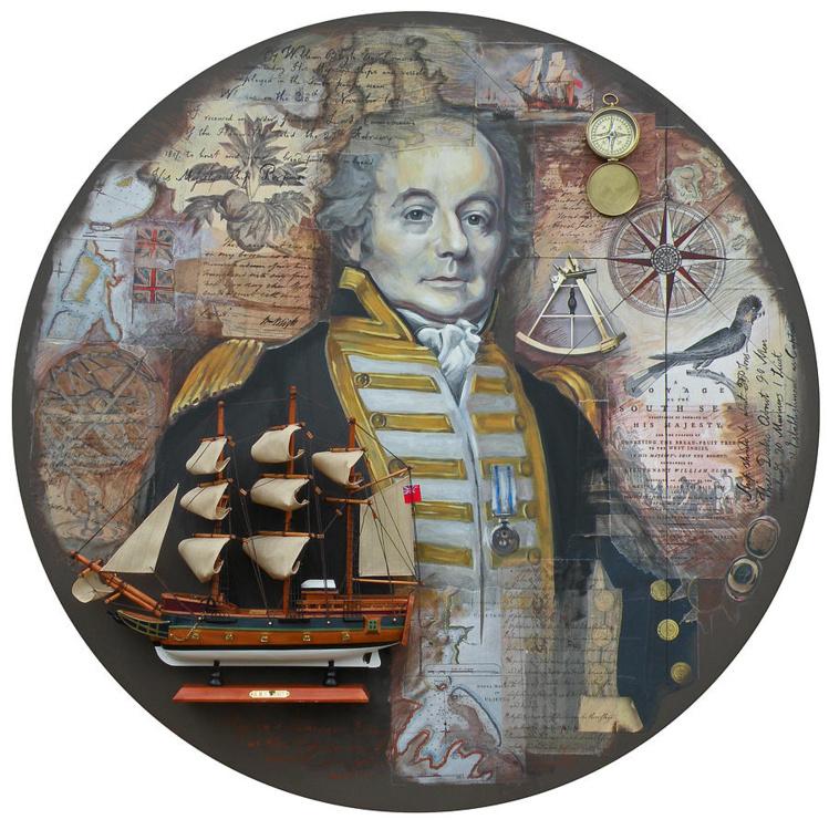 9 Une savante mise en page mettant en scène Bligh, avec une maquette de la Bounty et un pied de 'uru.