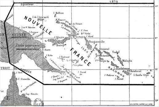 Sur cette carte de la Nouvelle-France, on mesure le ambitions de Du Breil : faire main basse sur quasiment les trois-quarts de la Mélanésie.