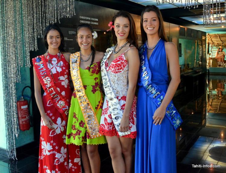 Les quatre gagnantes de Miss Tahiti 2016 armorent leurs nouveaux colliers de perles