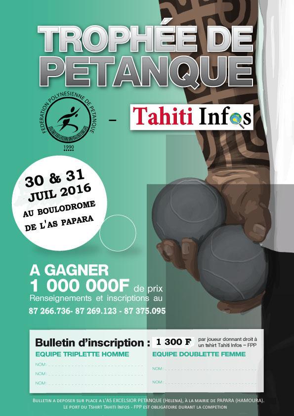 Pétanque – Trophée Tahiti Infos : La compétition se déroulera bien à Papara