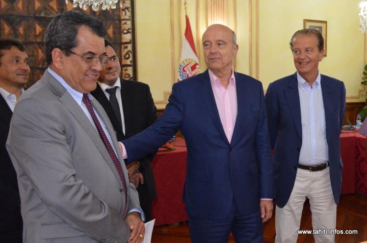 Alain Juppé, ce lundi à l'issue d'une réunion de travail organisée à la présidence en compagnie du gouvernement Fritch et de représentants de l'assemblée.
