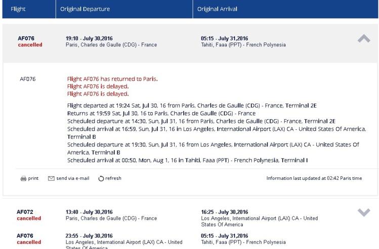 Problème sur le vol Paris-Tahiti Faa'a : les passagers bloqués en métropole