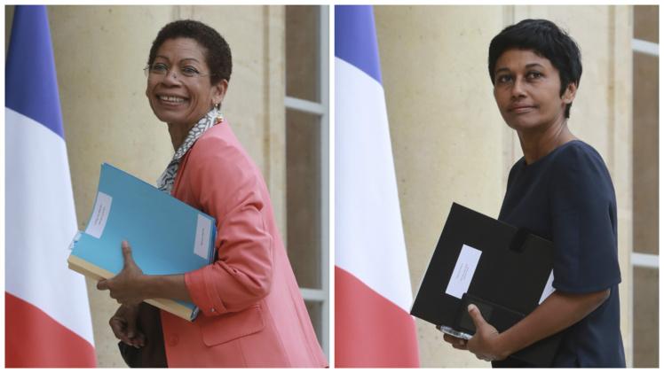 La ministre des Outre-mer George Pau-Langevin et Ericka Bareigts, secrétaire d'État chargée de l'Égalité réelle ont présenté mercredi le projet de loi sur l'égalité réelle outre-mer. Photo : AFP
