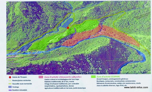 Un aperçu de ce qui est proposé dans le projet Ecoparc, et qui a créé l'indignation de l'association Haururu. Sur cette photo, la nouvelle route (en jaune) qui passe au-dessus du site de Fare Hape (zone en rouge).