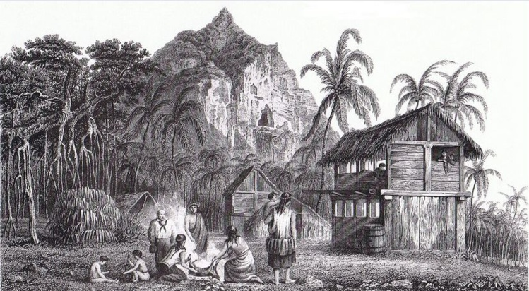 A house of Pitcairn at the time of the mutiny of the installation.  It is recognized, on the left, John Adams, denier survivor of the HMS Bounty Island.