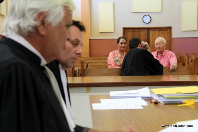 Pascale haiti et Gaston Flosse, ce mardi après-midi au palais de justice.