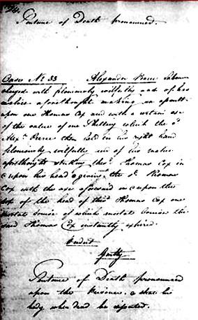 L'original de la sentence de mort prononcée par le tribunal d'Hobart, après la confession de Pearce.
