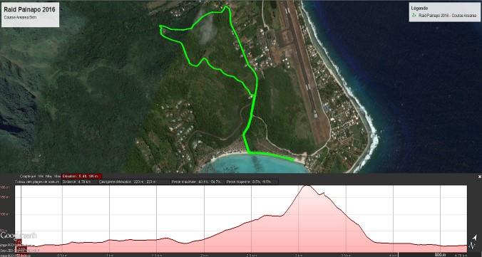 """Parcours ''Ārearea"""" : Ce parcours est roulant et accessible à tous. Le dénivelé maximum est de 190 mètres avec une pente à 40 degrés à franchir. Le passage par le vallon, puis sur le rocher de la pointe de Temae offre une vue panoramique sur le bord de mer. La dernière descente demandera aussi beaucoup d'efforts, avec des passages raides."""