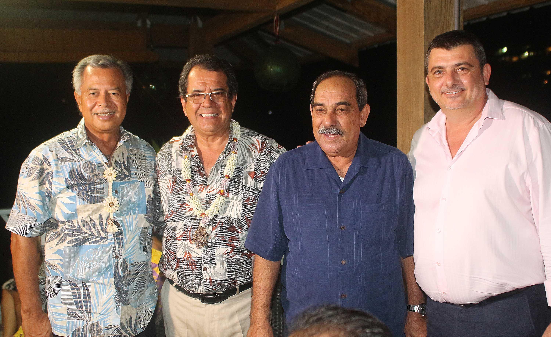 Le Premier ministre des îles Cook Henry Puna, le président de la Polynésie française, Edouard Fritch, le président des Etats fédérés de Micronésie, Peter Christian, et le président du gouvernement de Nouméa Philippe Germain.