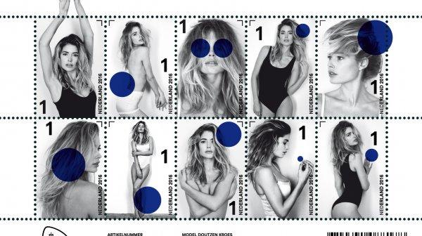 Une top-model sur les timbres néerlandais