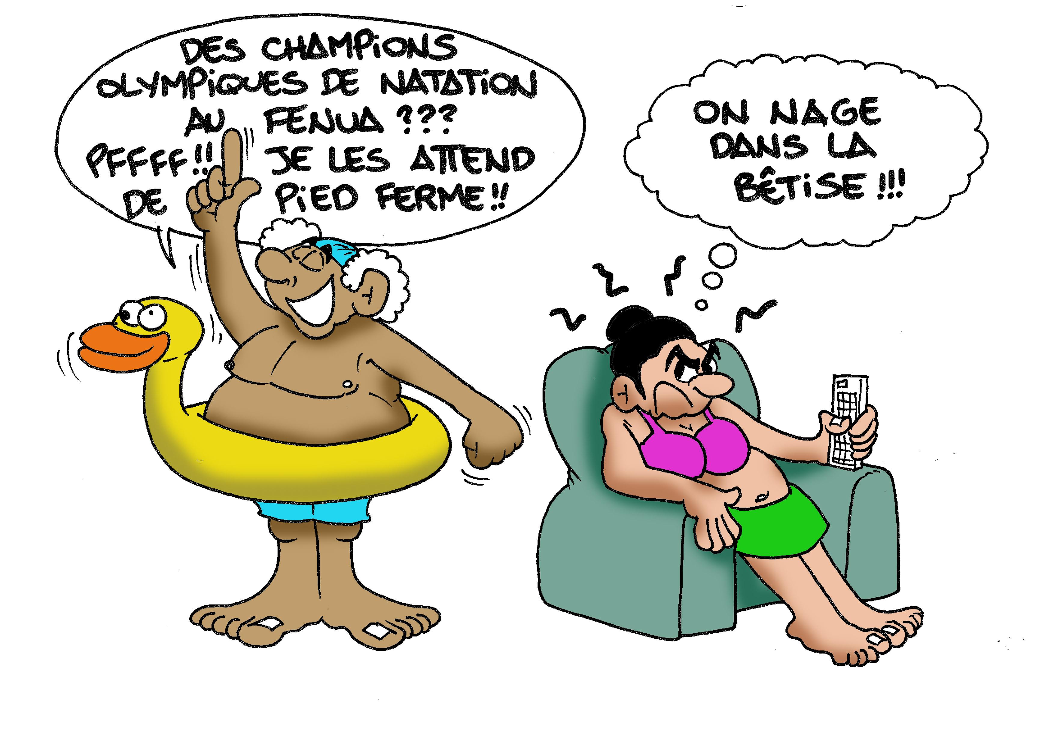 """"""" Les champions de natation au fenua """" par Munoz"""