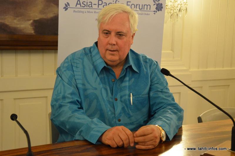 Clive Palmer en juillet 2012 à Tahiti, lors de sa visite pour le Asia-Pacific Forum. Le milliardaire australien venait d'acquérir l'ancien Club Med Bora Bora quelques semaines plus tôt pour la somme de 10 millions de dollars australiens.