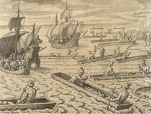 Les premières gravures de l'époque montrent que les contacts avec les indigènes n'étaient pas forcément faciles, loin de là !