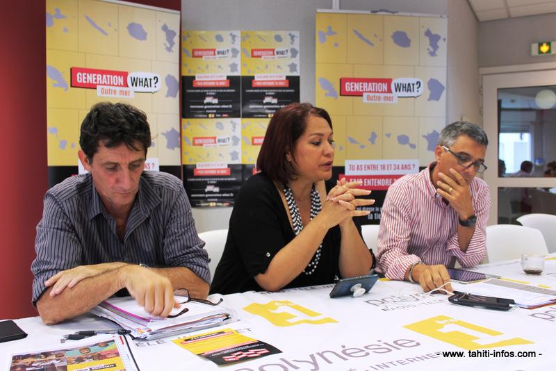 Christophe Marquand, directeur des contenus numériques de Première, Heia Parau, responsable communication et Jean-Philippe Lemee, directeur des antennes.