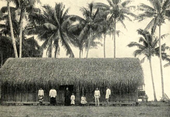 Grand fare niau à Papara. 1905. Photo Coulon.