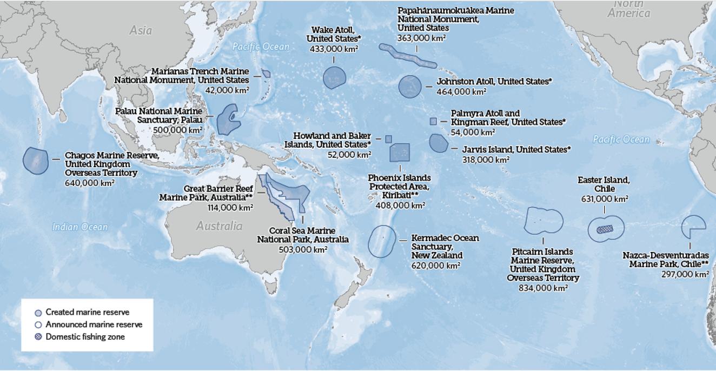 Figure 3 : Réserves marines hautement protégées (sans pêche) dans le monde (Source : Fondation Pew 2016)