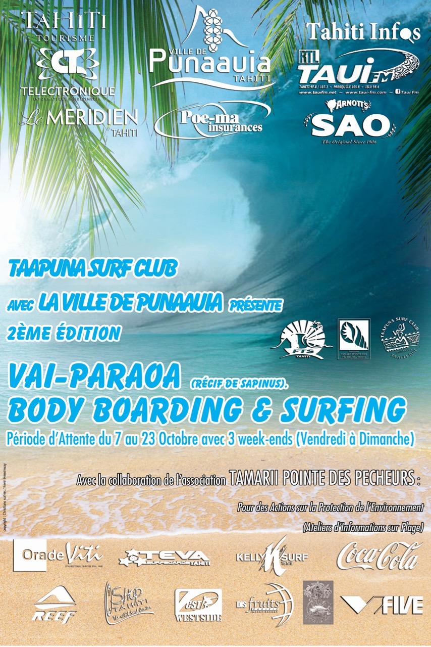 Surf/Bodyboard – Vai-Paraoa : Une nouvelle compétition sur vague de récif