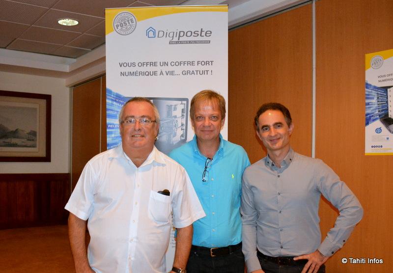 André Vital, directeur général adjoint de Docapost, Nicolas Weinmann, directeur de la Poste polynésienne et Jean-Philippe Khristy, directeur de la Relation clients de Sefas Innovation