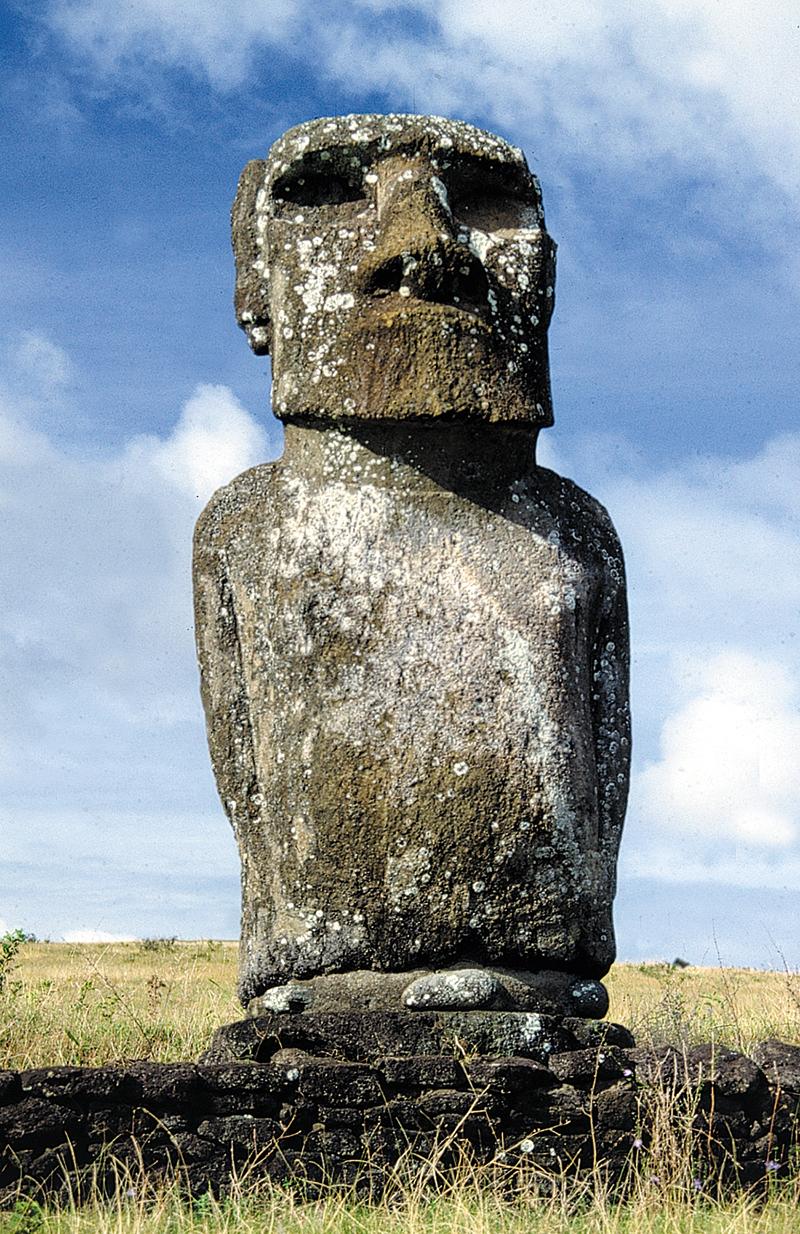 """""""Des visiteurs irrespectueux nous avaient surnommés """"Les sept singes"""", moi et mes six autres compagnons moai"""" ; le sobriquet a aujourd'hui disparu."""