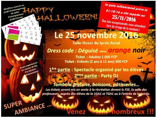 La soirée Halloween du lycée Aorai reportée au 25 novembre