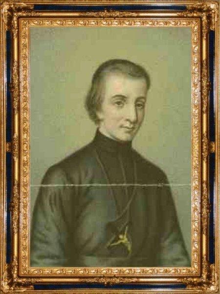 L'un des rares portraits de Pierre Chanel, représenté déjà canonisé.
