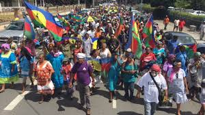 Manifestation à Nouméa pour l'inscription de tous les Kanak sur la liste électorale
