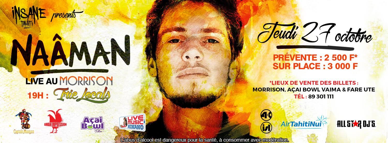 Concerts de reggae avec Naâman ce soir à Tahiti et samedi à Moorea