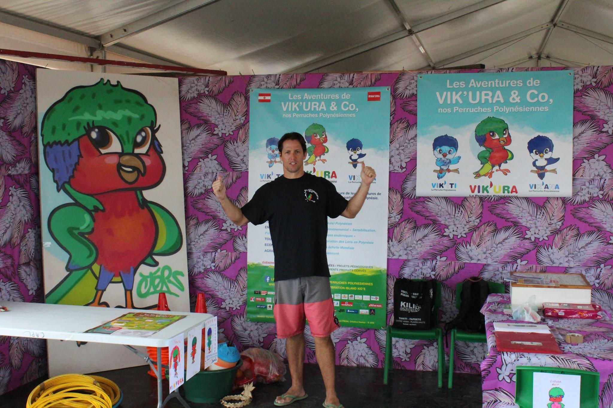 Nouveau symbole du sport polynésien, le créateur de Vik'ura aimerait, à terme, que sa mascotte devienne l'emblème du fenua.
