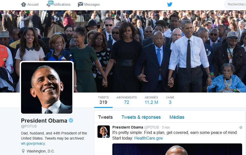 Cadeau d'Obama à son successeur: 11 millions d'abonnés Twitter