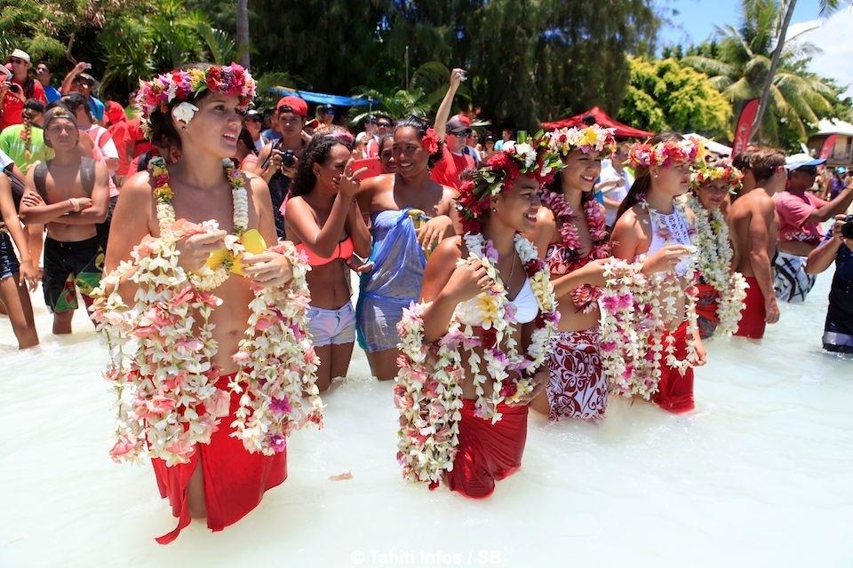 L'accueil fleuri à Bora Bora