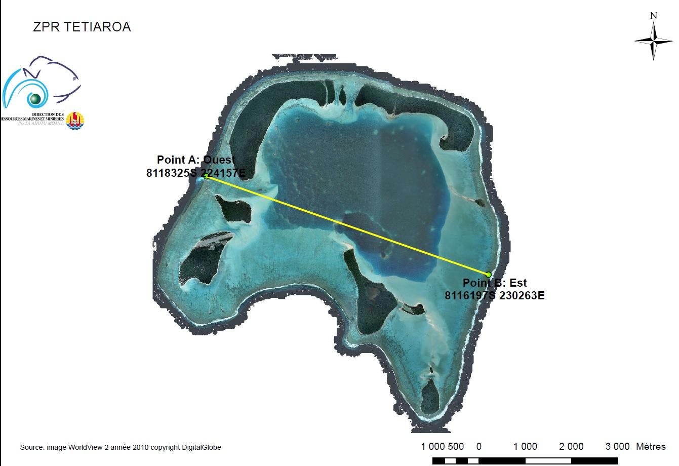 La pêche est interdite au sud de la ligne jaune, depuis juin 2014 suite à la création d'un ZPR à Tatiaroa.